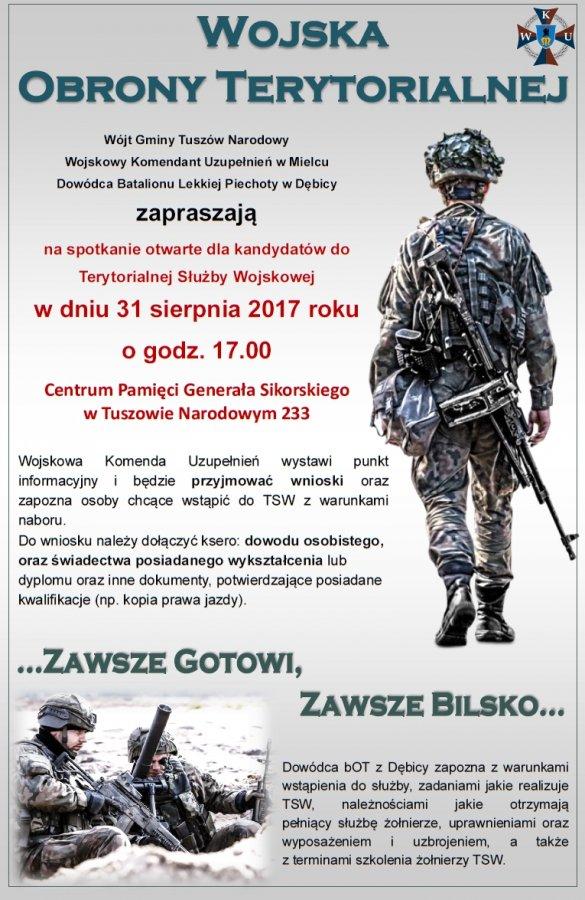 Zaproszenie na spotkanie otwarte kandydatów do Terytorialnej Służby Wojskowej